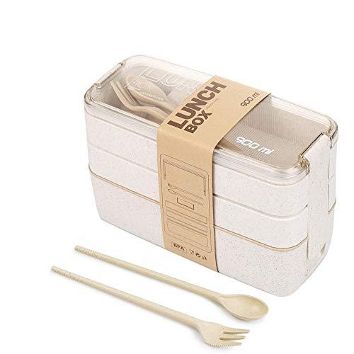 GGSTUDY Mittagessen Mittagessen natürliche Weizen (Weizen Farbe) DREI Lunch-Box wiederverwendbar rotes Licht,Weizen Farben,1