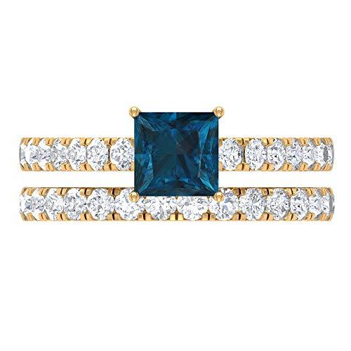 Rosec Jewels 14 quilates oro amarillo talla princesa Round Brilliant Blue Moissanite Topacio azul - Londres
