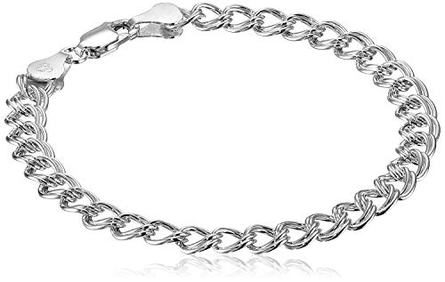 Amazon Essentials Sterling Silver Double-Link Chain Bracelet, 7'
