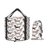 Origami Dachshunds - Cubo plegable para salchichas y perros, contenedor de agua portátil para camping, senderismo, pesca, viajes
