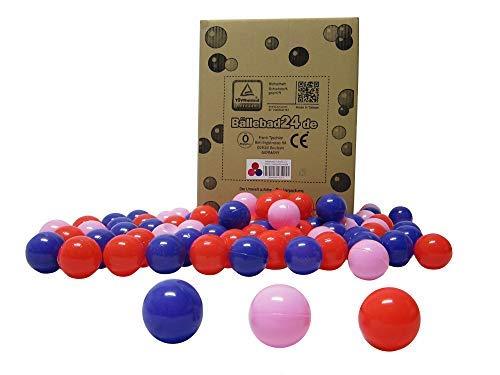 Bällebad24 - 200 bolas para piscina de bolas, mezcla de color rojo, rosa y lila, calidad de juego, certificado TÜV y certificado 2019.