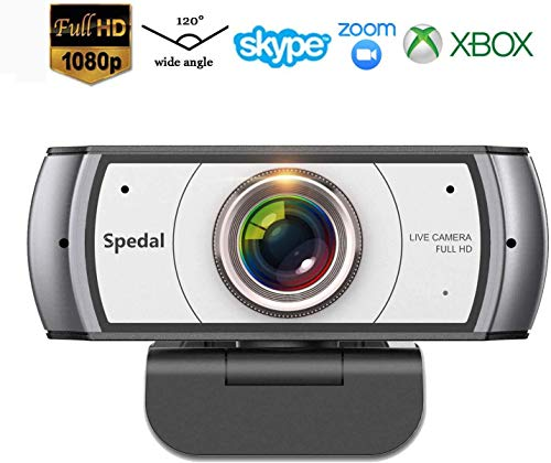 Webcam 120° Gran Angular Full HD 1080P Cámara Web Compatible con Skype,Xbox, Twitch,Youtube, Facebook Webcam de USB Plug and Play