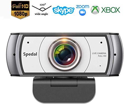 Webcam Full HD 1080P Computer-Kamera Streaming Xbox 120 Grad Weitwinkel-Webcam USB Mit Mikrofon für Skype und Twitch PC Kamera Videoanruf Videokonferenzen für Mac Windows