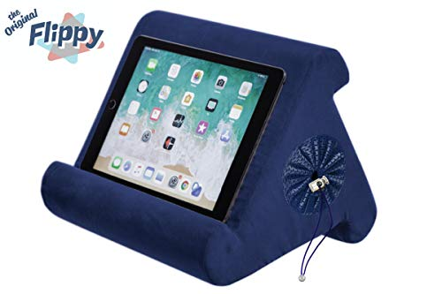 Flippy with New Storage Cubby Multi-Angle Soft Pillow Lap Stand for iPads, Tablets, eReaders, Smartphones, Books, Magazines (True Blue)