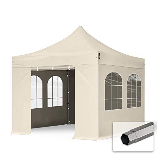 TOOLPORT Faltzelt Partyzelt 3x3m - mit 4 Seitenteilen Premium Dach 100{b0051467b9f283d97298cb4439aa92bbe5aa7c95bf7715097904d0622db794c0} WASSERDICHT Faltpavillon Pavillon Creme