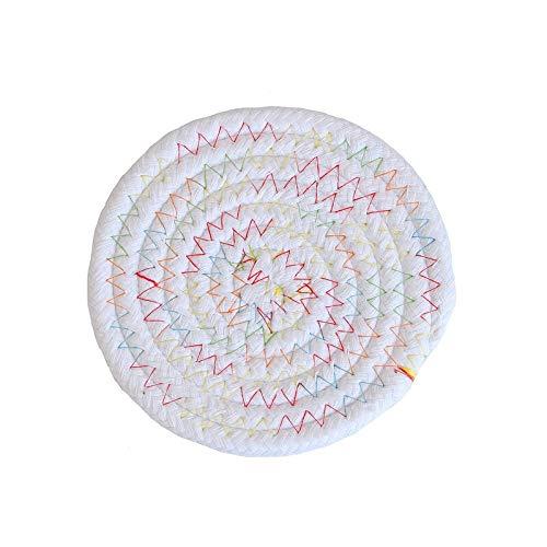 Manyao Handarbeit Baumwolle Seil Platzdeckchen Hand gesponnene Tischsets Servietten Geschirr Getränk Cup Coaster Isolierung Pad Küche Abendessen Wohnkultur (Color : Warm Colorful, Size : Round)