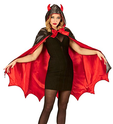 Karneval-Klamotten Teufel Teufelin Kostüm Damen Lucifer mit Kapuze mit Teufelshörner Halloweenkostüm Einheitsgröße Sexy Teufelin Umhang Dame