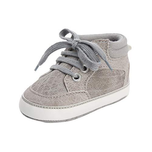 Unisex Sneakers Baby Jungen Schnürsenkel Lauflernschuhe Weiche Sohle Turnschuhe Kind Schnüren Schuhe (Grau, 12 (6~12Monate))