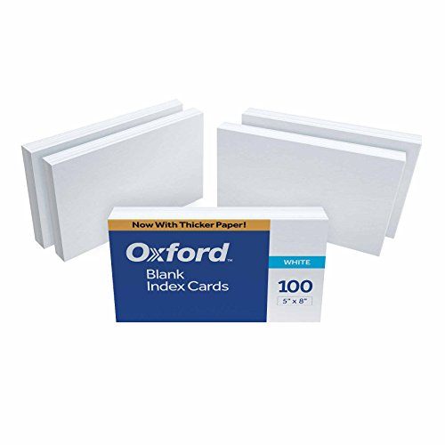 """Oxford 50EE Blank Index Cards, 5"""" x 8"""", White, 500 Cards (5 Packs of 100) (50)"""