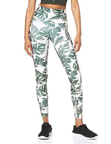 Marca Amazon - AURIQUE Mallas de Deporte Estampadas con Tiro Alto Mujer, Verde (Leaf Print), 36, Label:XS