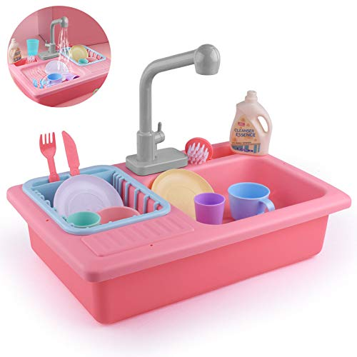 13 Sets Van Kinderen Educatief Speelgoed Vroege Onderwijs Simulatie Vaatwasser Elektrische Waterkringloop Simulatie Keuken Speelgoed Jongens En Meisjes Verjaardagscadeau,Pink