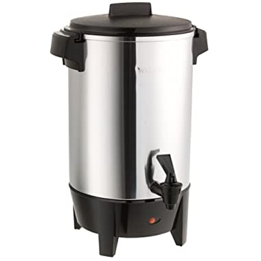 West Bend 58030 Highly-Polished Aluminum Commercial Coffee Urn Features Automatic Temperature Control Large Capacity with Quick Brewing Smooth Prep and Easy Clean Up, 30-cup, Silver