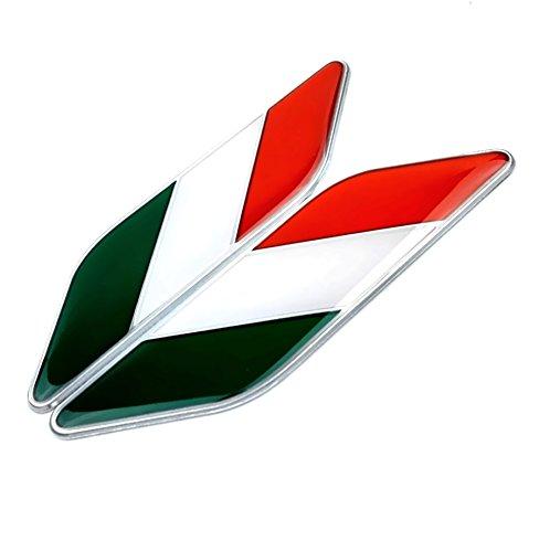 【ノーブランド品】3D イタリア エンブレム 国旗 ステッカー 車 シール プレート 2枚 セット
