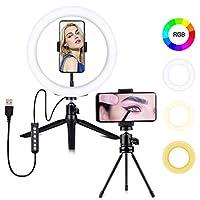 リングライト10インチRGB LEDリングライトは、三脚スタンドと電話ビデオ撮影用の電話ホルダー、Selfie、Vlog、Youtube OuoyでSelfieサークルライトを構成します