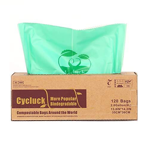 Cycluck 120 Sacs 6L 100% Biodégradable et Compostable 6L 10L 30L Sacs Poubelle en 13432, Fabriqué à partir d'amidon de maïs (6L)