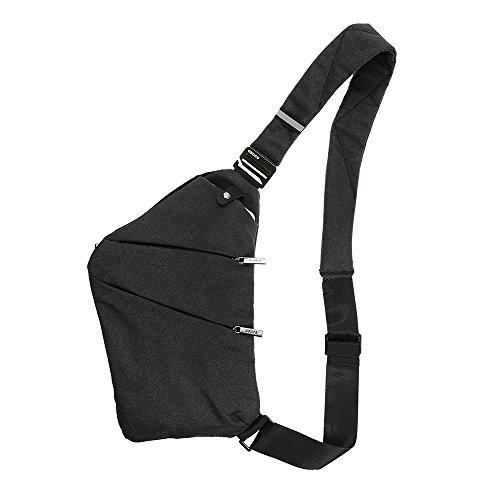 Lixada Sling ryggsäck bröstväska lätt utomhus sport resa vandring stöldsäker crossbody axelväska dagväska för män kvinnor Svart Svart 12.2 * 7.9 * 0.4in