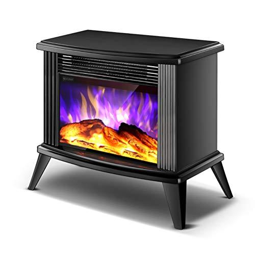 CCFCF Chimenea Eléctrica Estufa Calefactor,Eléctrica con Termostato Brillo Temperatura Ajustable 2000W Efecto Leña Ardiendo,Black