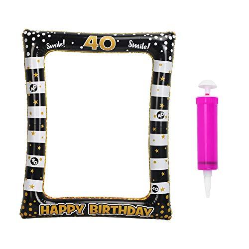 CINMOK 40 Anni Compleanno Cornice Selfie,Compleanno Decorazione Gonfiabile Cornice per Selfie Booth Puntelli Oro Nero Cornici per Foto Decorazioni per Feste Celebrazione Favore