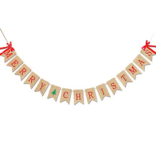 ZXPAG MERRY CHRISTMAS Burlap Banners slingers met lintstrikken voor kerstfeest decoratie Photo Prop -