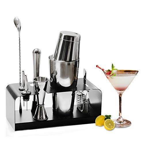 SKY FISH Kit de Barman Ensemble d outils de Barre de 8 pièces avec Support en Acier Inoxydable - kit de Barman Parfait pour la Maison et Ensemble de Shaker à Cocktail Martini.