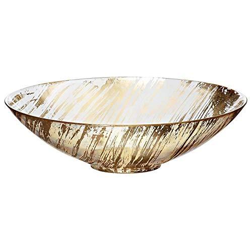 CRISTALICA Schale Obstschale Konfektschale Golden Dust Gold Klar Glas 27 cm