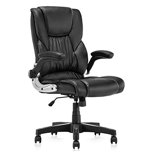 KERMS Home Office Desk Chair, PU Leather Ergonomic Executive Computer Chair with Flip up Arms and Adjustable Height (Black)