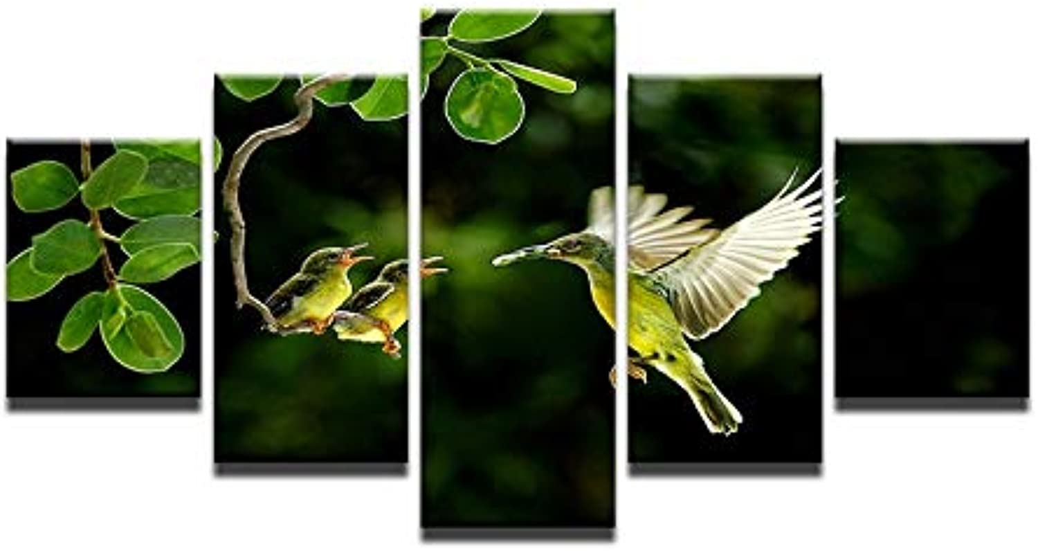 Home Decor Canvas HD Printed Picture Framed 5 Pieces Painting Tends The Birds Animal Tree Poster Wall Art
