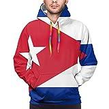 tyui7 Bandera de Cuba Sudaderas con Capucha de Novedad para Hombre Sudaderas con Capucha 3D con Bolsillos Grandes L