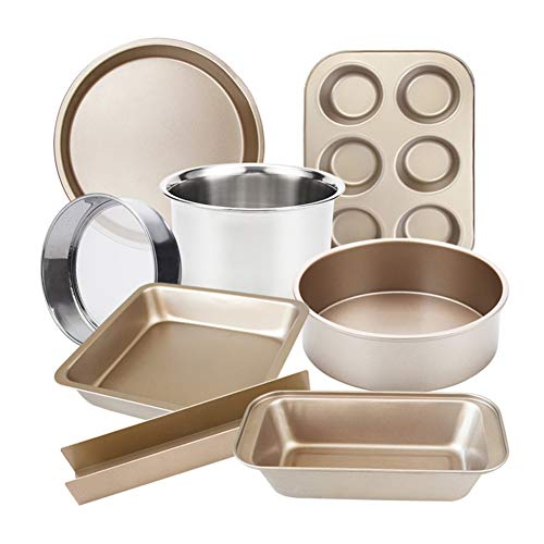 Lefuyan 8-Piece Nonstick Bakeware Set, Toaster Oven Baking Pan Set with Nonstick Coating Suitable for Private Baking