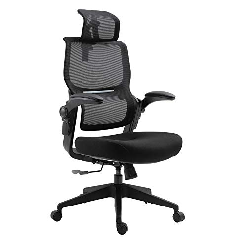 Sigtua, Ergonomischer Schreibtischstuhl PC Stuhl Höhenverstellbarer Computerstuhl Chefsesseldrehbarer atmungsaktive Bürostuhl office Stuhl Schwarz