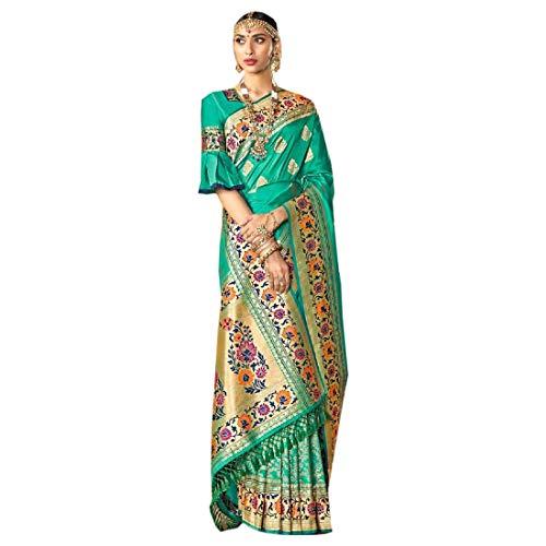Rama Verde Pesado Banarasi Seda Zari Indio de la Boda de Ropa de Novia Especial Sari Musulmanas Mujeres Blusa Étnica Vestido Material 9768