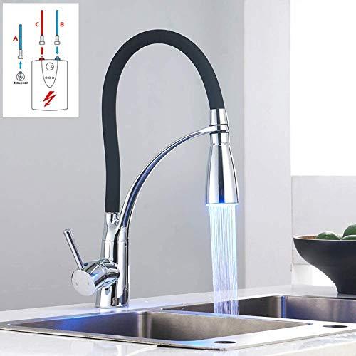 PFTHDE Grifo Mezclador LED para Fregadero de Cocina de Baja presión con 3 mangueras de conexión Negro