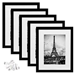 MULTIPLE FRAMES COLLAGE:Bulk of 5 pieces Picture Frames set in the same Sizes.Perfect for Pictures 8x10 with Mat or 11x14 Without Mat. SAFE MATERIAL:These frames light but firm,has plastic cover instead of glass,when they fall to the ground you won't...