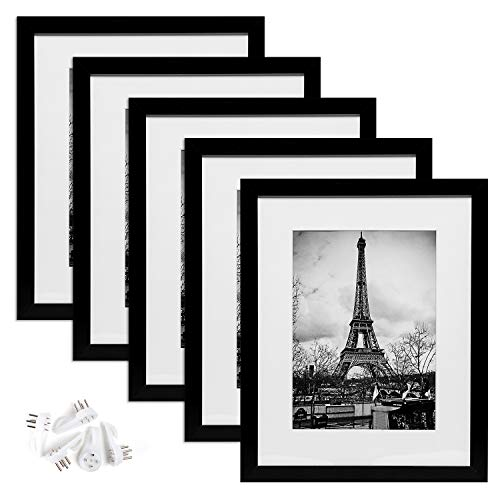 upsimples 11x14 Picture Frame Set of 5,Display Pictures 8x10 with Mat or 11x14 Without Mat,Black Photo Frames for Wall Display
