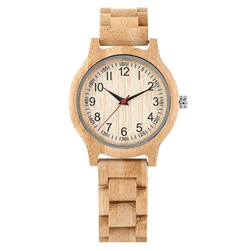 FMXKSW Damenuhr, Natural All Bamboo Wood Clock Uhren Quarz Damen Kleideruhr Holz Armreif, Vollholz Uhr