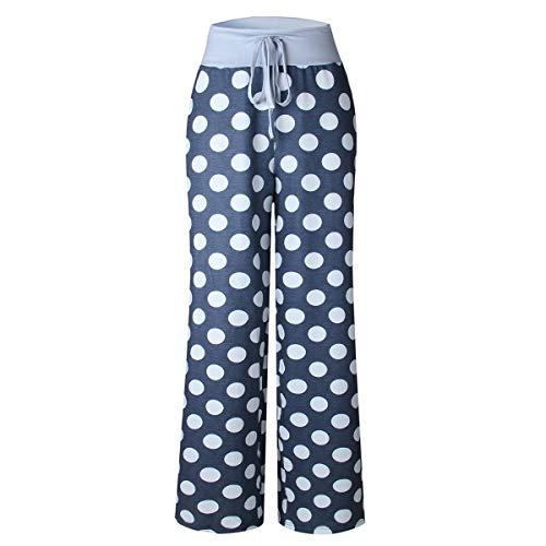 BESTOYARD Dames Trekkoord Brede Been Broek Dots Bedrukte Broek Pajama Lounge Broek - Maat M(Grijs)