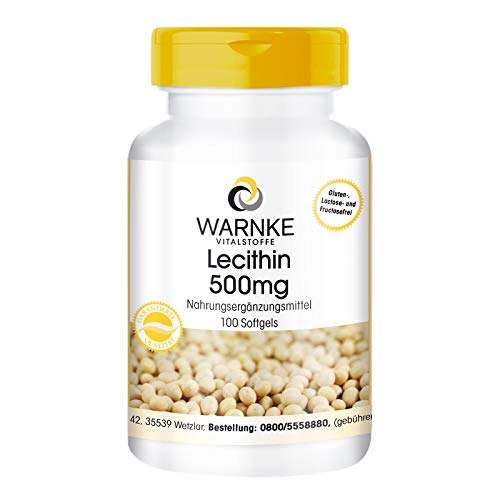 Lecitina di soia in capsule molli 500mg - No OGM - 100 Softgels - Supporta normali prestazioni mentali