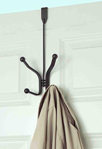 Home Basics 2 Dual Hook Over the Door Hanging Rack for Coats, Hats, Robes, Towels, Jackets, Purses, Bedroom, Closet, and Bathroom, Bronze