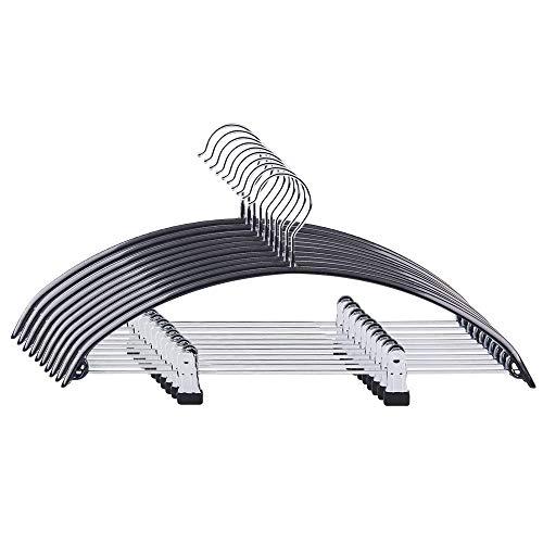 winkong 10本組 ハンガー ズボンハンガー 強力クリップ付き ステンレス 跡がつかない 型崩れしない 多機能 省スペース (ブラック) 洗濯ハンガー 衣類ハンガー