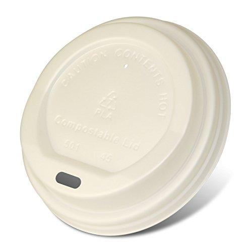 pack2go Kompostierbare Coffee to Go Deckel aus CPLA 8/10oz für Kaffeebecher 0,2/0,25l, weiß, 1000 Stück