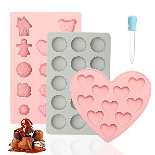 Yumcute 3 Pezzi Stampi Silicone per Caramelle e Cioccolato, stampi cioccolatini, Stampo silicone pieghevole e antiaderente per cioccolato, caramelle, gelatine, cubetti di ghiaccio, snack per cani.