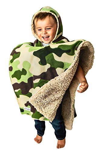 Children's Car Seat Poncho Toddler Boy Blanket Camo Tan Bear Sherpa Reversible Camouflage Warm Safe Coat