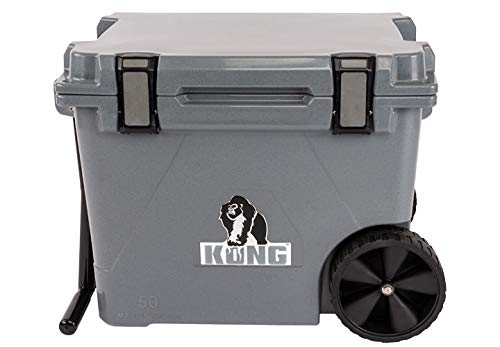 KONG Coolers | 50 QT Cruiser Wheeled Cooler | Proudly Made in The USA | Durable, Safe, Rolling Extended Ice Retention Cooler (Gorilla Gray)