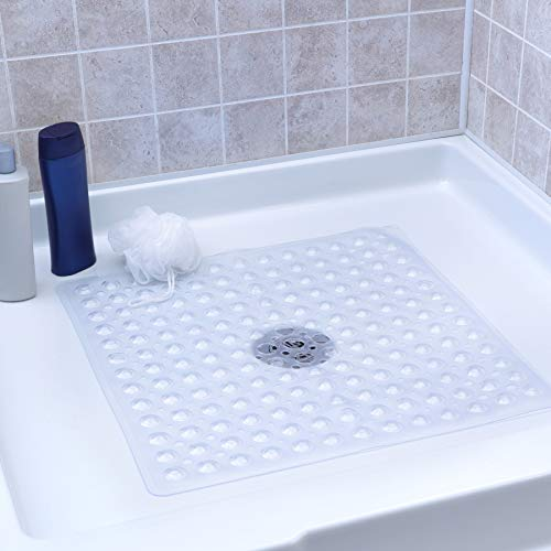 SlipX Solutions Clear Square Shower Stall Mat Provides Reliable Slip-Resistance (21 Inch Sides, 160 Suction Cups, Great Drainage)