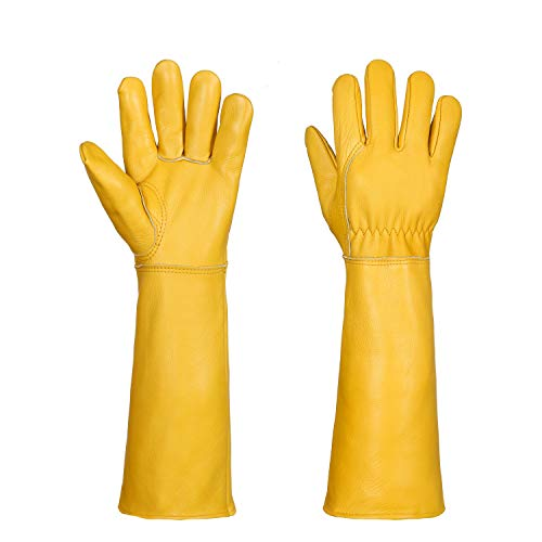 Gardening Gloves for Women/Men- Alomidds Rose Pruning Thorn & Cut Proof Elbow Length Durable Cowhide Leather Garden Work Gloves for Pruning Cacti Rose and Thorny Bushes (Medium, Yellow)