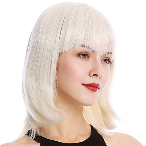 WIG ME UP - YZF-4362-60 Perruque dame carré long frange courte lisse blond blanc platine