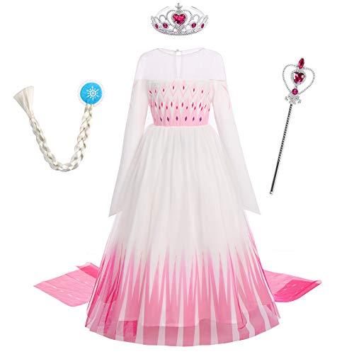 Iwemek 2 disfraces de reina del hielo Elsa para niña, vestido de princesa de nieve, con copos de nieve, vestido de tul, para Navidad, carnaval, fiesta de cumpleaños F Rose Set 5-6 Años
