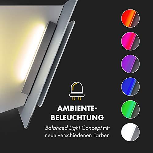 Klarstein Aurora Eco 90 - Wandabzugshaube, Kopffreihaube, Dunstabzugshaube, 90 cm, 550 m³/h Leistung, RGB-Farben, 59 dB leise, Umluft und Abluft, weiß - 6