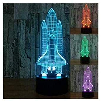 3d Illusion El cohete Lámpara luces de la noche ajustable 7 colores LED 3d Creative Interruptor táctil estéreo visual atmósfera mesa regalo para Navidad