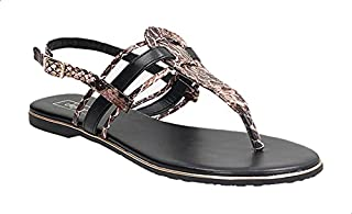 Dejavu Snake Embossed Faux Leather Buckle Ankle Strap Thong Sandals for Women